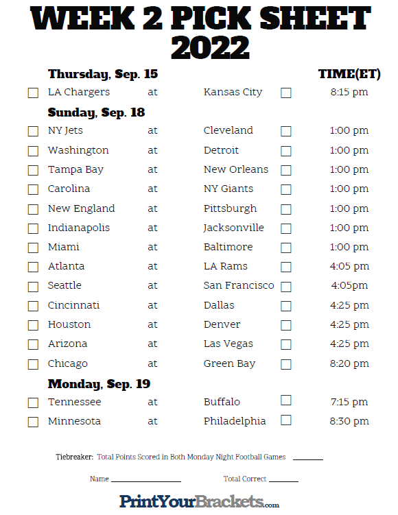 Printable Week 2 NFL Schedule Pick Em Sheets