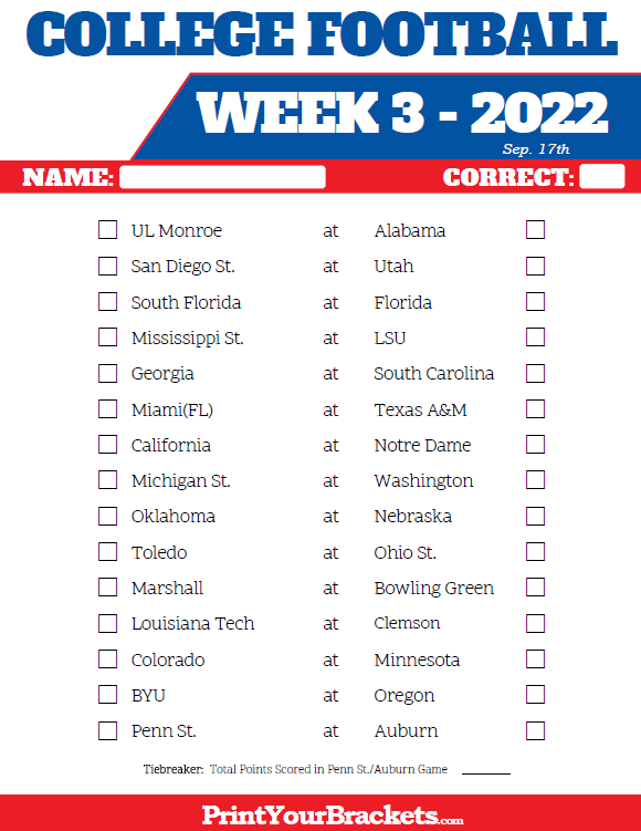 Printable College Football Week 3 Pick 'em Sheets