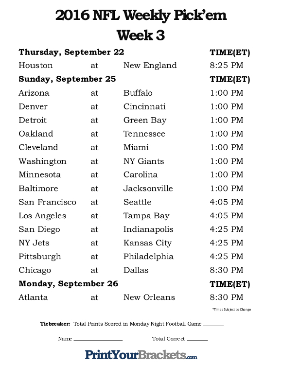 Printable NFL Week 3 Schedule office pool