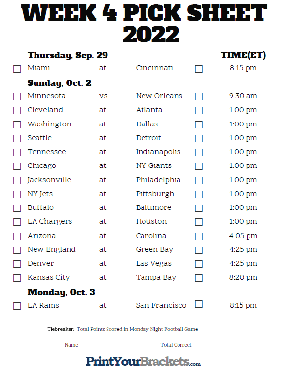 graphic regarding College Football Pick Em Printable Sheets identify Printable NFL 7 days 4 Agenda Decide on em Pool 2019