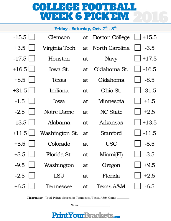Punchy image with regard to college football pick'em printable sheets