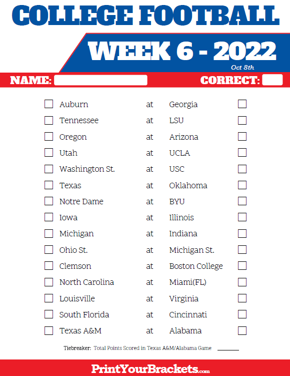 Printable College Football Week 6 Pick 'em Sheets