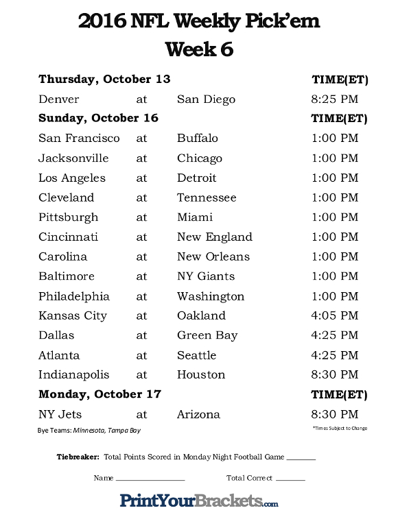 Effortless image regarding nfl week 6 printable schedule