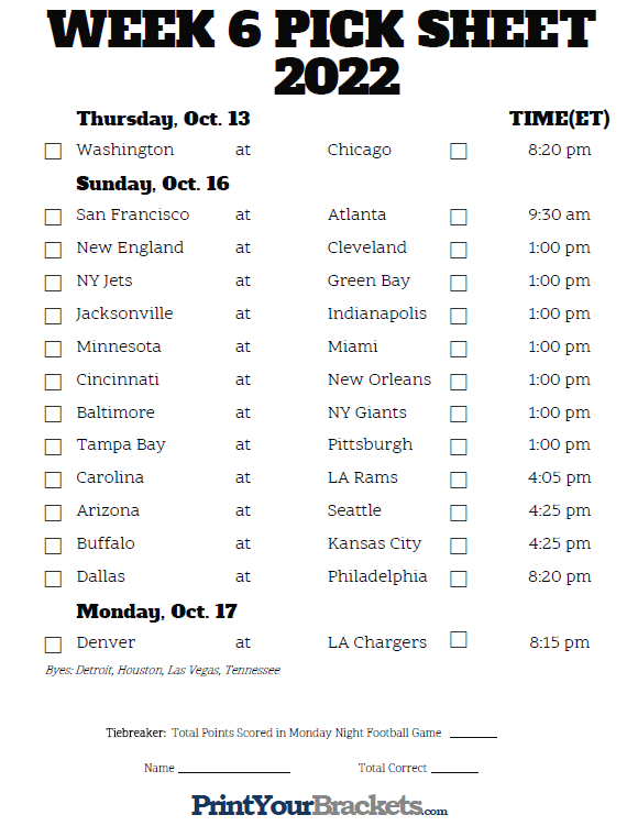 Smart image with nfl week 6 printable schedule