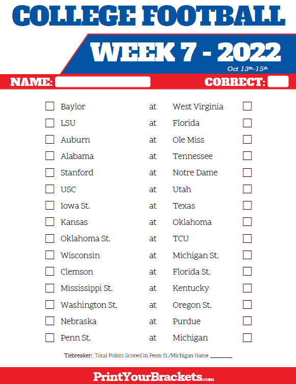 Printable College Football Week 7 Pick 'em Sheets
