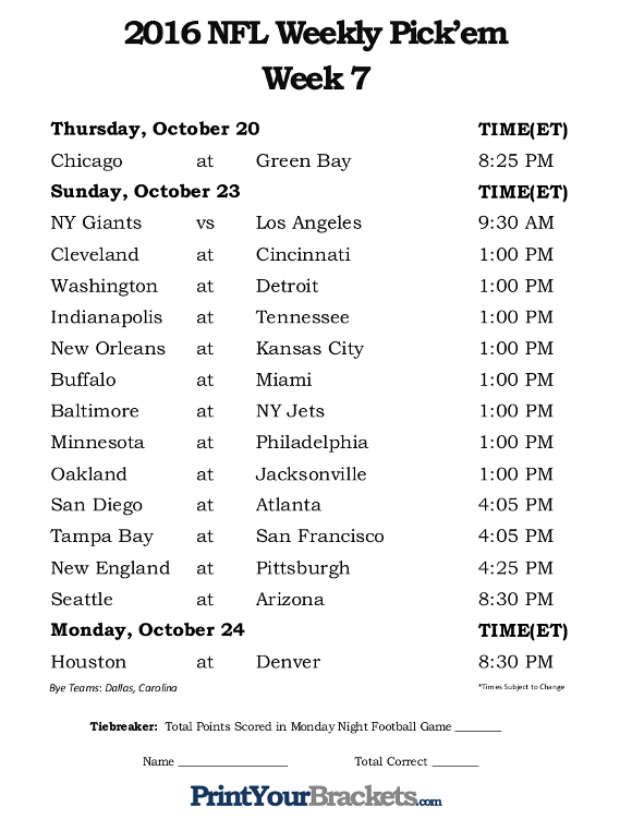 Printable NFL Week 7 Schedule Office Pool