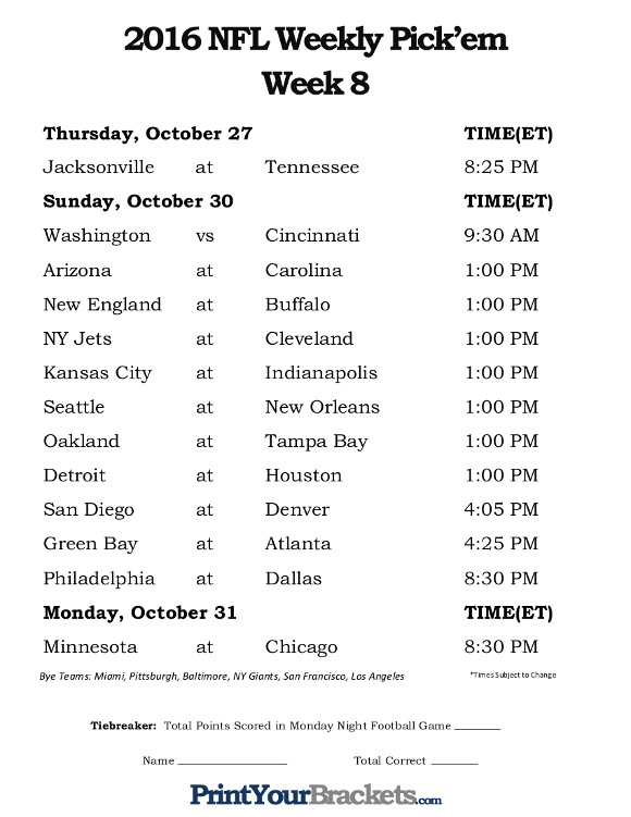 Printable Week 8 NFL Office Pool Schedule
