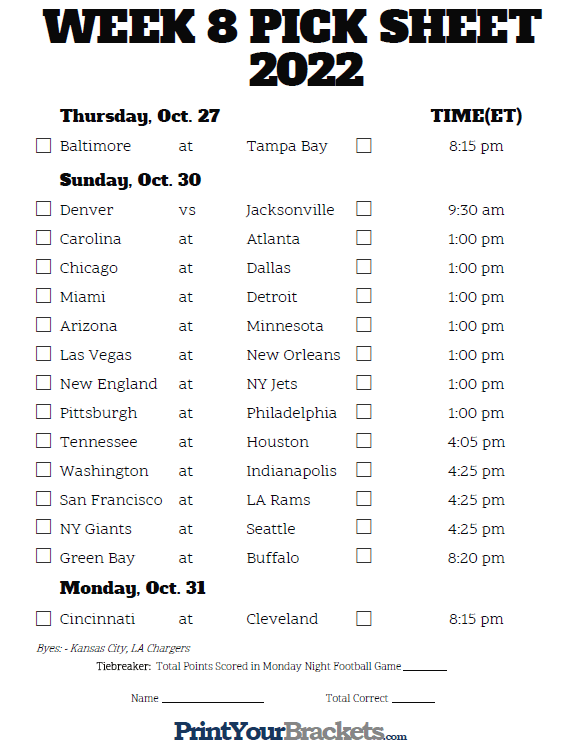 photograph relating to Nfl Week 8 Printable Schedule known as Printable NFL 7 days 8 Agenda Pick out em Pool 2019