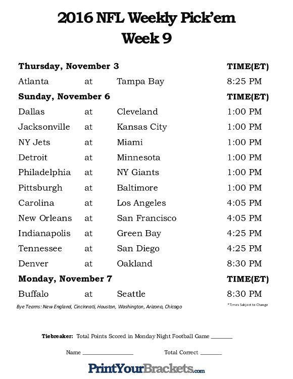 Printable NFL Week 9 Schedule Pick em Office Pool 2016