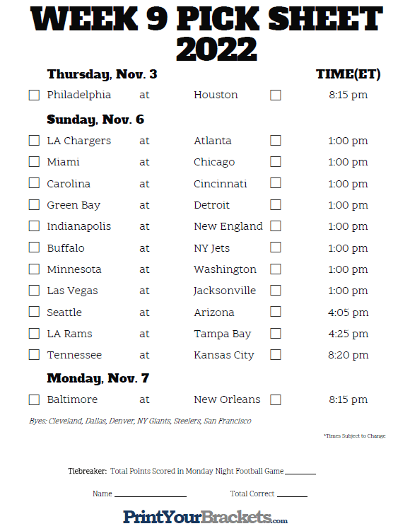 photograph regarding Nfl Week 8 Printable Schedule named Printable NFL 7 days 9 Agenda Choose em Pool 2019