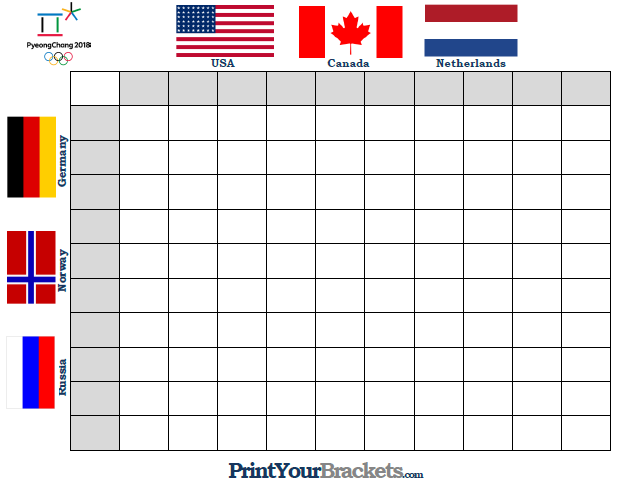 Printable Winter Olympics Square Grid Office Pool