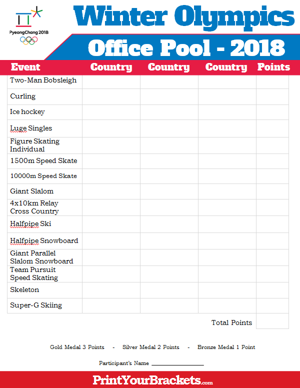 Printable Winter Olympics Office Pool