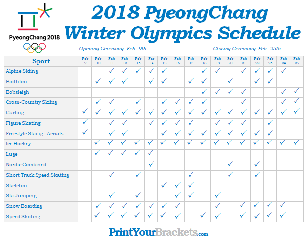 Printable Winter Olympics Schedule PyeongChang 2018