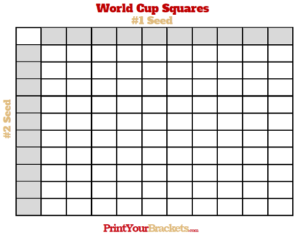 Printable World Cup Squares Grid Pool