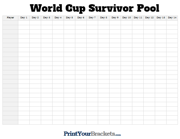 Printable World Cup Survivor Pool