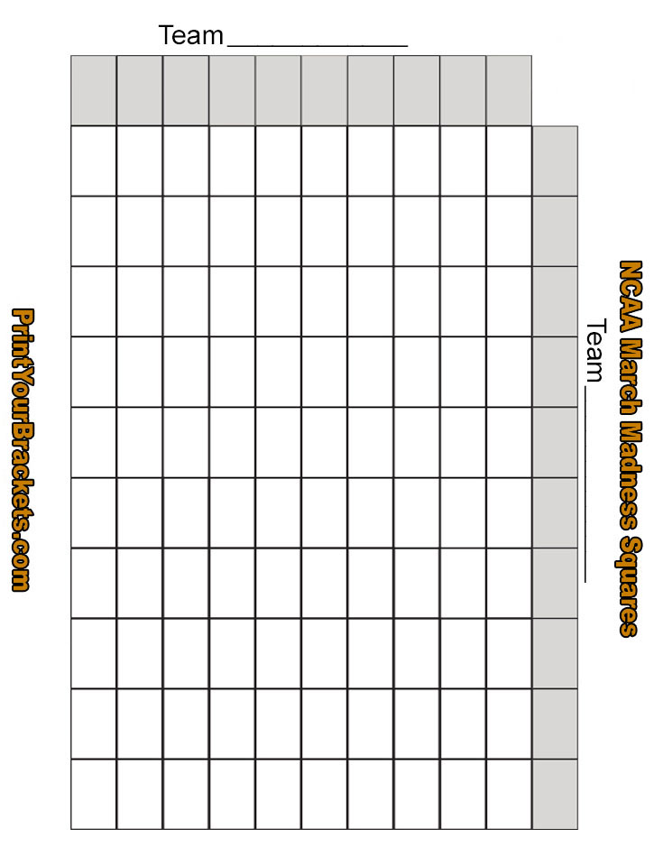 Printable March Madness Squares Ncaa 100 Square Grid | LZK Gallery