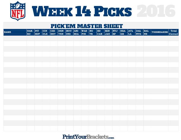 nfl week 14 picks master sheet grid