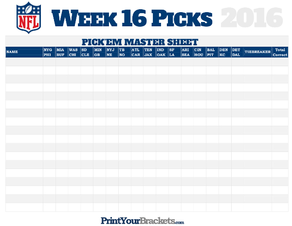 NFL Week 16 Picks Master Sheet Grid