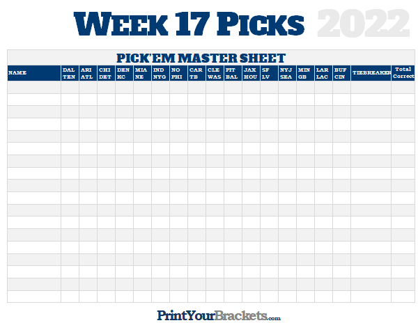 image regarding Nfl Week 17 Schedule Printable known as NFL 7 days 17 Options Discover Sheet Grid - 2019