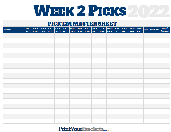 photo relating to Printable Nfl Week 2 Schedule known as NFL 7 days 2 Alternatives Study Sheet Grid - 2019