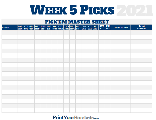 NFL Week 5 Picks Master Sheet