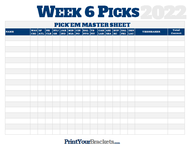 Nfl Week 6 Picks Master Sheet Grid 2020