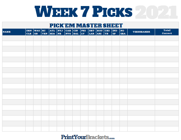 NFL Week 7 Picks Master Sheet