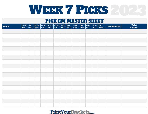 Irresistible image with regard to nfl week 7 printable schedule