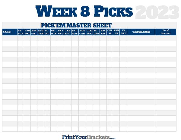 NFL Week 8 Picks Master Sheet Grid