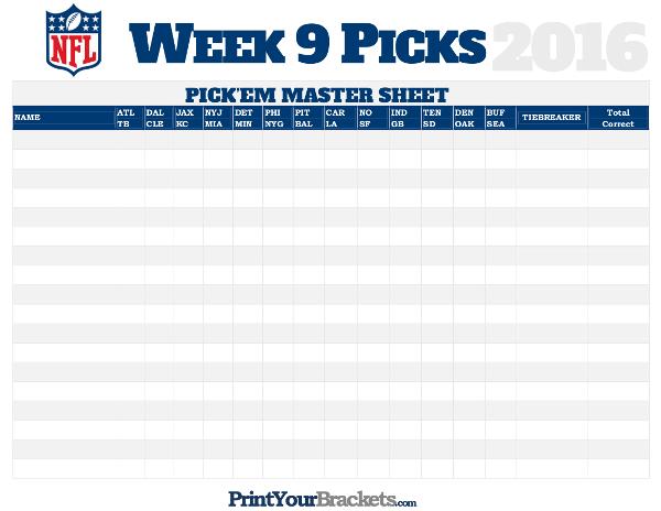 Bowl Pick Em Sheet >> NFL Week 9 Picks Master Sheet Grid