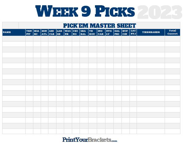 NFL Week 9 Picks Master Sheet Grid
