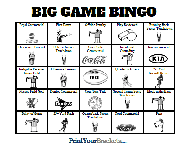 photo relating to Printable Super Bowl Bingo Cards called Tremendous Bowl Bingo Sheets - Printable