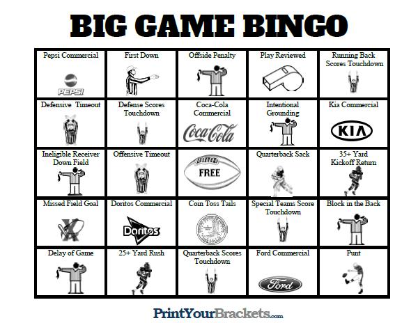 Super Bowl Bingo Sheets Printable