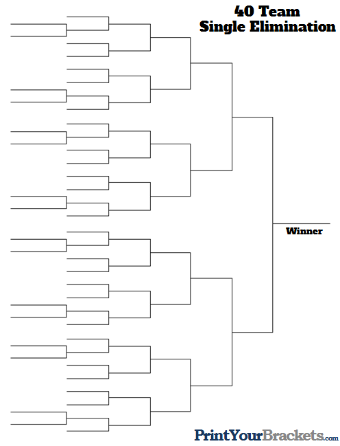 30 man single elimination bracket Double elimination brackets (in ms excel format) click on the appropriate number to download the  30 - 31 - 32 - 33 - 34 - 35 - 36 - 37 - 38 - 39 - 40.