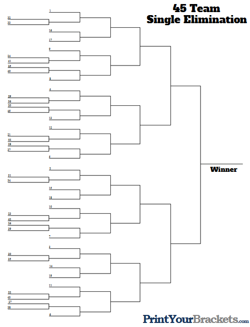 45 Team Seeded Tournament Bracket