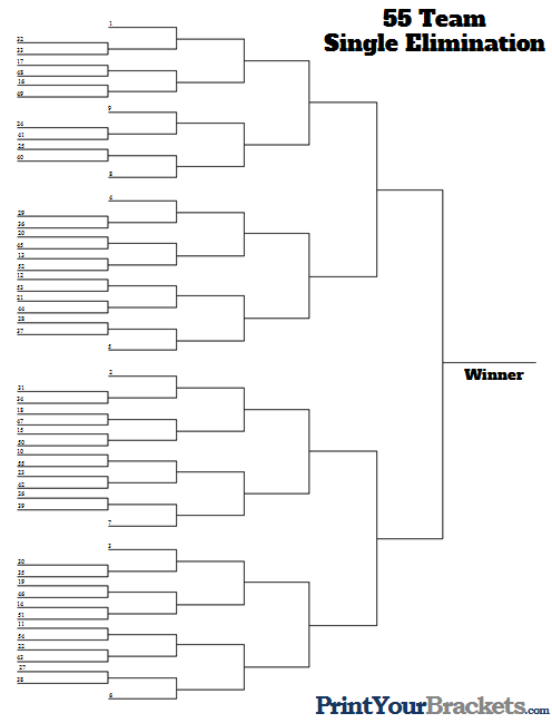 55 Team Seeded Tournament Bracket