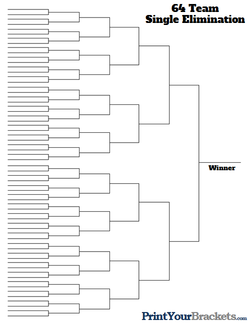 image regarding Printable 64 Team Bracket named 64 Staff One Removing Printable Match Bracket